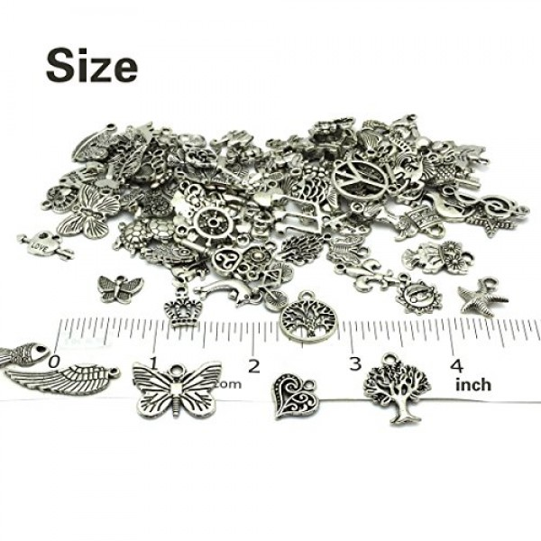 Wholesale Bulk Lots Jewelry Making Silver Charms Mixed Smooth Tibe...