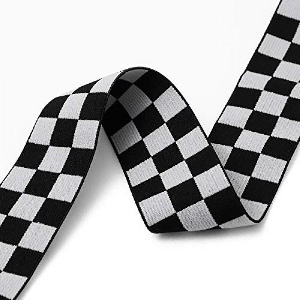4-Yards 40mm1-5/8 Checkerboard Elastic Stretch Ribbon Trim, Bla...