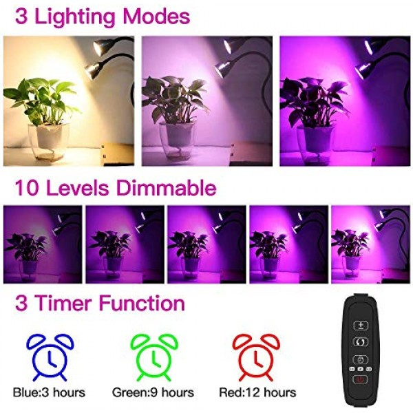 LED Grow Light for Indoor Plant,360° Gooseneck Dual Head Clip-on P...