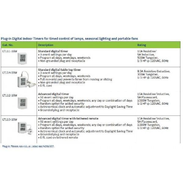 Leviton LT111-10W 500-Watt Standard Digital Plug-In Timer with Non...