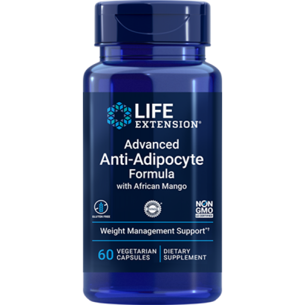 Life Extension Advanced Anti-Adipocyte Formula with African Mango, 60 vegetarian capsules
