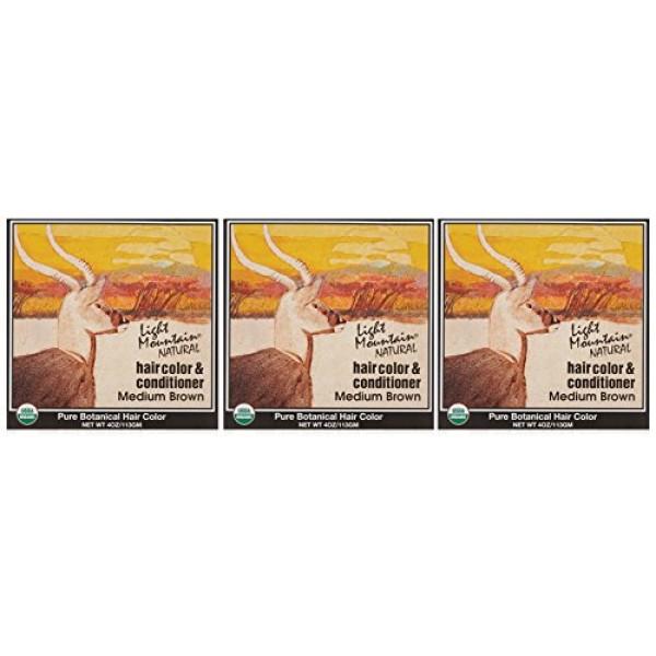Light Mountain Natural Hair Color & Conditioner, Medium Brown, 4 o...