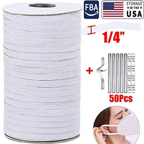 1/4 in Width Flat Elastic Bands for Sewing,White Elastic Roll 135 ...
