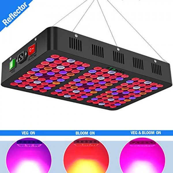 Mieemclux 1500W LED Grow Light with Reflector, Triple-Chips 15W L...