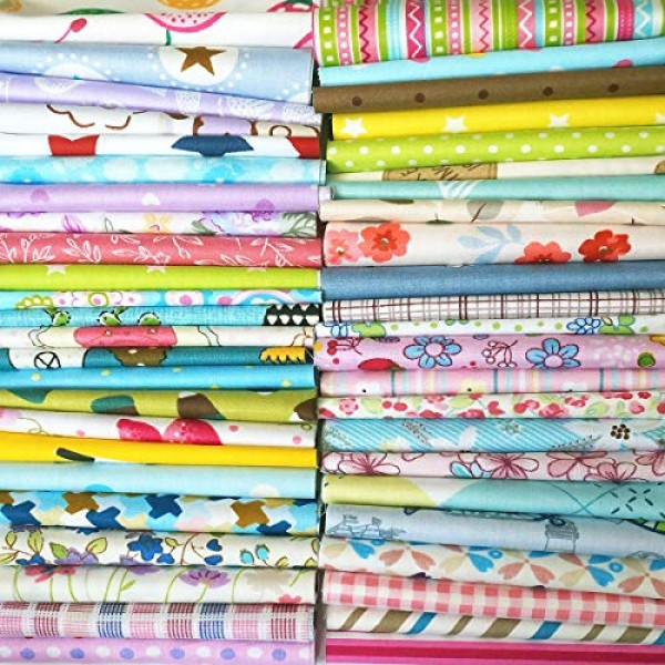 Misscrafts 25pcs Assorted Floral Cotton Fabric Precut Square Quarter Bundles Quilting Sewing Craft DIY 20cm*20cm