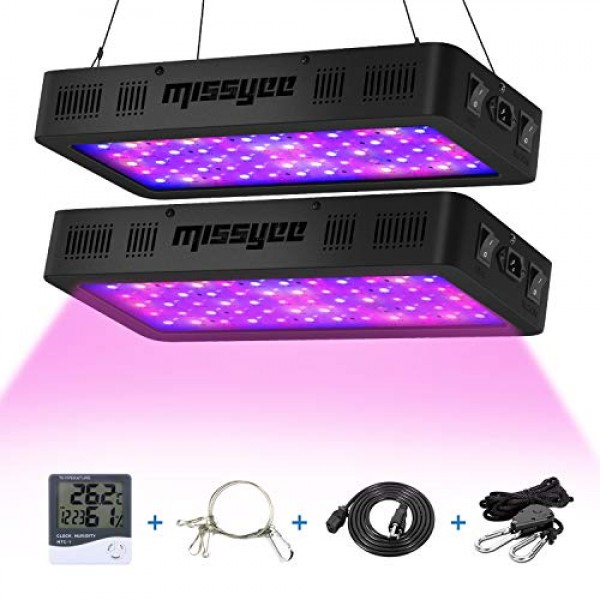 Missyee 2 Pack 600W Led Plant Grow Light With Thermometer Humidity...