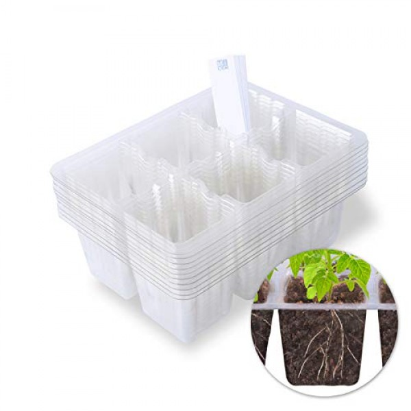 MIXC Seedling Starter Trays 60 Cells Transparent Seed Tray Grow Ge...