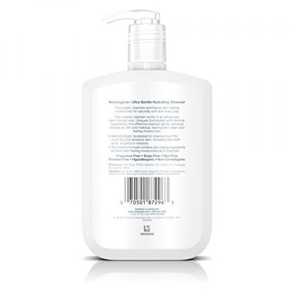 Neutrogena Ultra Gentle Hydrating Cleanser For Sensitive Skin, 12 ...