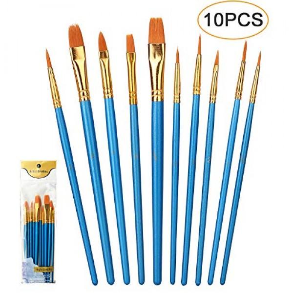 10 PCS Paint Brush Set, Acrylic Art Paintbrush Sets, Round Pointed...