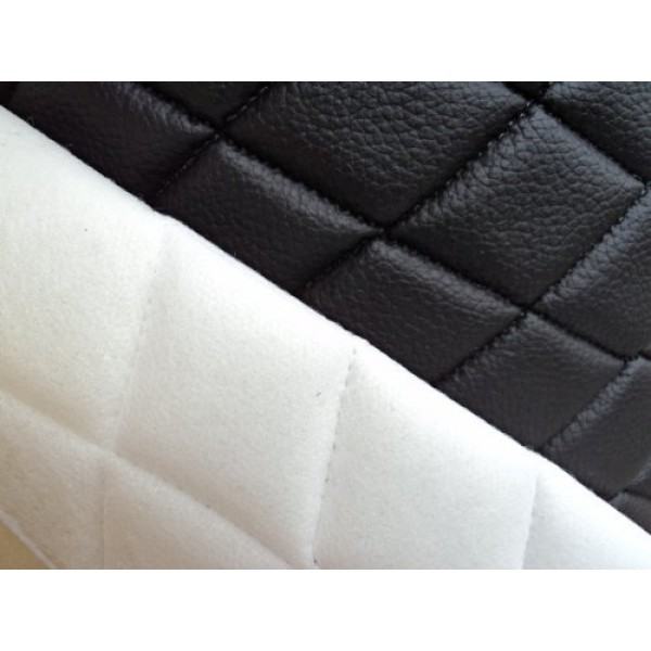 1 X Vinyl Quilted Black Fabric w/ 3/8 Foam Backing Upholstery By ...