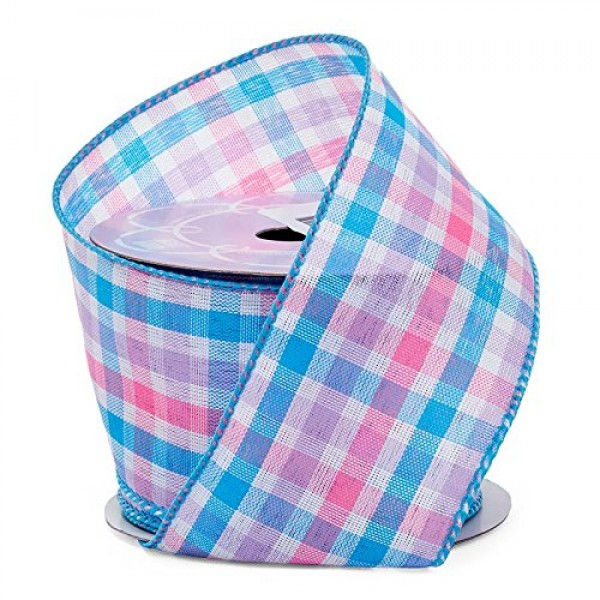 2 1/2 X 10 Yards Blue/Pink Party Gingham Fabric Ribbon