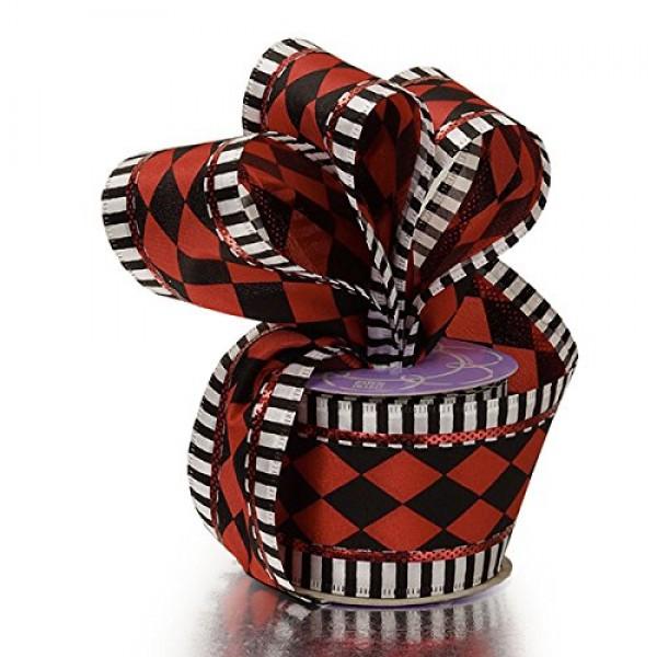 2 1/2 X 10 Yards Red/Black Harlequin Stripe Wired Ribbon Halloween