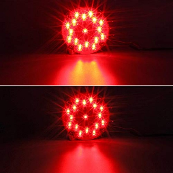 Partsam 2pcs 7 Inch Round Led Trailer Tail Lights Red 17