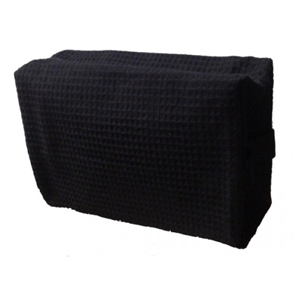 Pendergrass Cotton Waffle Cosmetic Bag, Large, Black