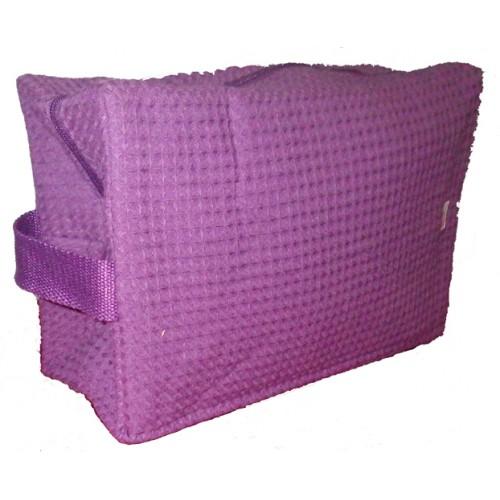 Pendergrass Cotton Waffle Cosmetic Bag, Large, Plum