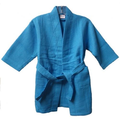 Pendergrass Children's Waffle Robe, Tropical Blue, Medium 6-8
