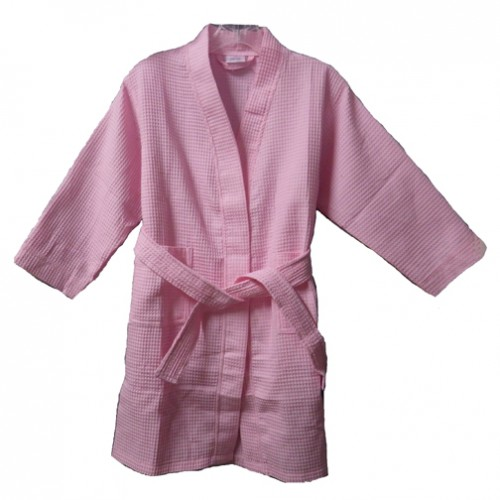 Pendergrass Children's Waffle Robe, Pink, Large (10-12)