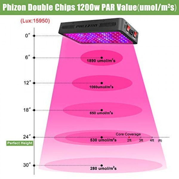 Phlizon Newest 1200W LED Plant Grow Light,with Thermometer Humidit...