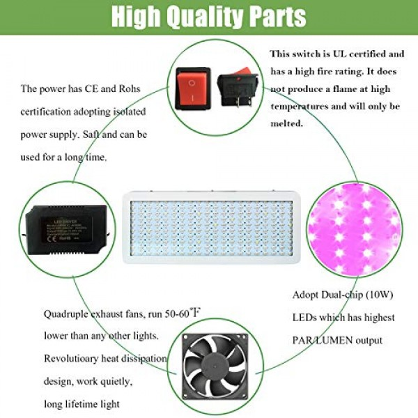 Phlizon Newest 2000W High Power Series Plant LED Grow Light,with T...