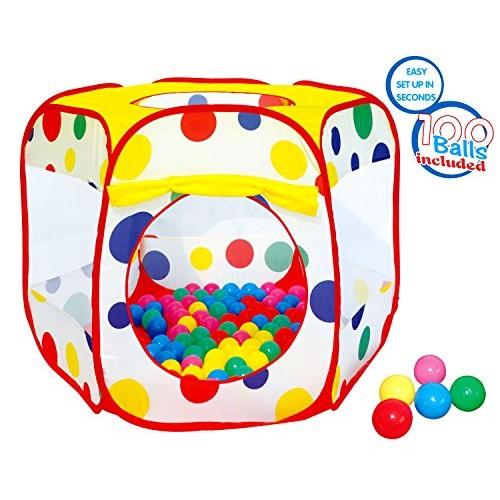 Polka Dot Ball Pit Twist Pool Popup Hexagon Mesh Play Tent with 10...