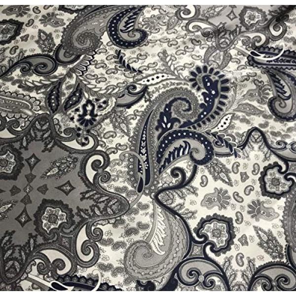 Navy /& Silver Paisley Silk Charmeuse Fabric