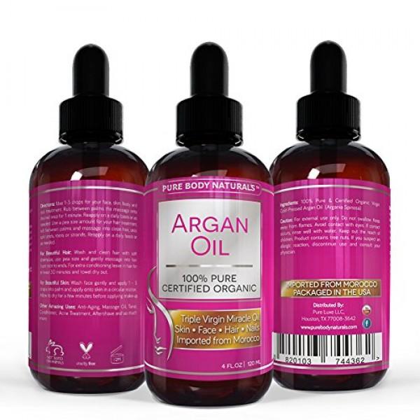 Pure Body Naturals Organic Argan Oil for Skin, Face, Hair & Nails,...