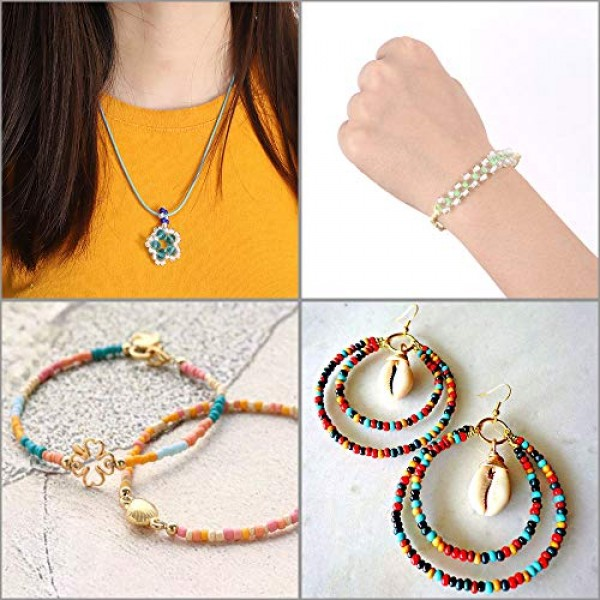 26400pcs 2mm Glass Seed Beads 24 Colors Loose Beads Kit Bracelet B...