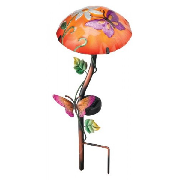 Regal Art & Gift 10341 Solar Mushroom Garden Stake, Butterfly