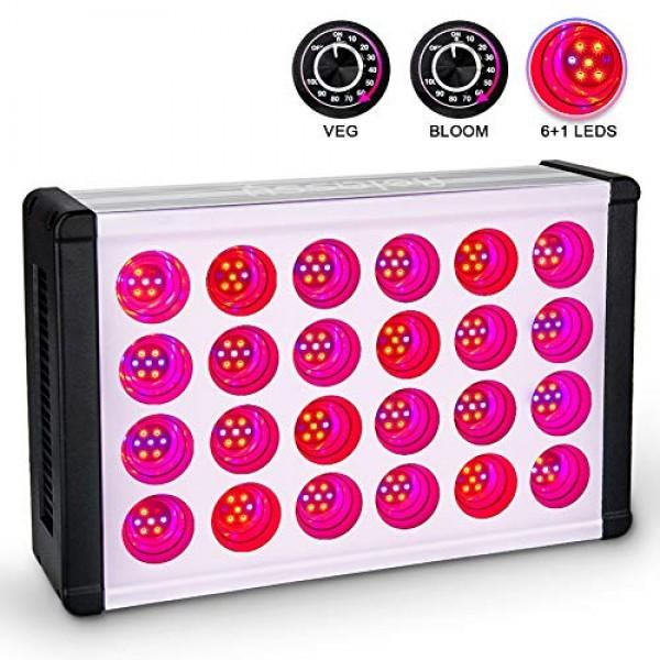 Relassy 800W LED Grow Light, Veg&Bloom Dimmer Knobs, 16-Band Full ...