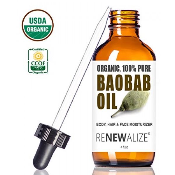 USDA Certified Organic BAOBAB SEED OIL in LARGE 4 OZ. DARK GLASS B...