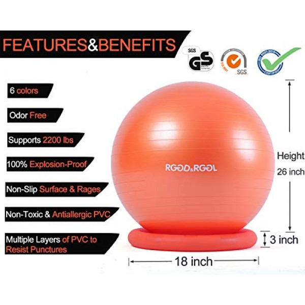 Yoga Ball Chair, RGGD&RGGL Exercise Ball with Leak-Proof Design, S...
