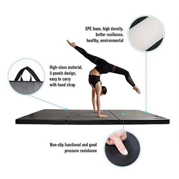 RitFit Upgraded Folding Exercise Mat, 2 Inch Thick Gymnastics Mat ...