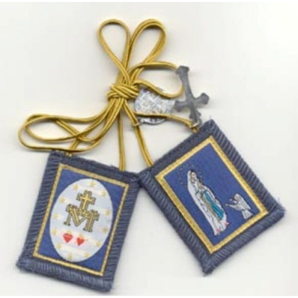 Blue Immaculate Conception Scapular with Two Hearts on Reverse