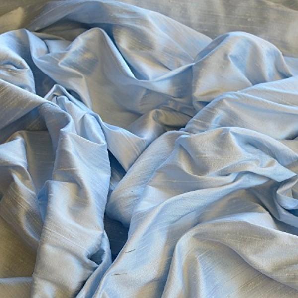 44 Wide - Iridescent Baby Blue Dupioni Silk, 100% Silk Fabric, by...