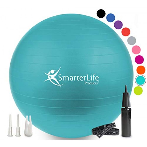Exercise Ball for Yoga, Balance, Stability from SmarterLife - Fitn...