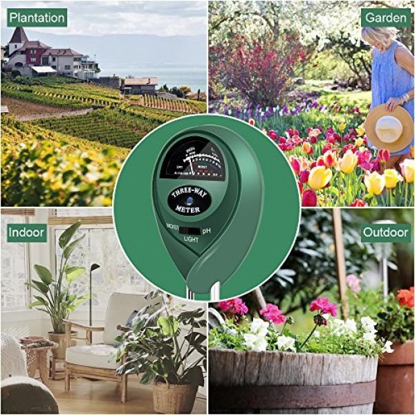 Veroyi Soil pH Meter, ST01 3-in-1 Soil Moisture/Light/pH Tester Ga...