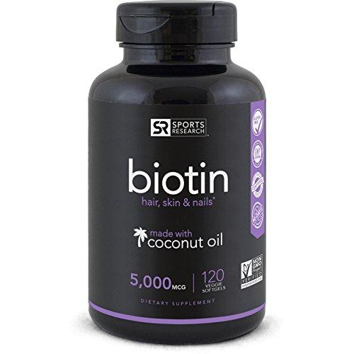Biotin (High Potency) 5000mcg Per Veggie Softgel; Enhanced with Co...