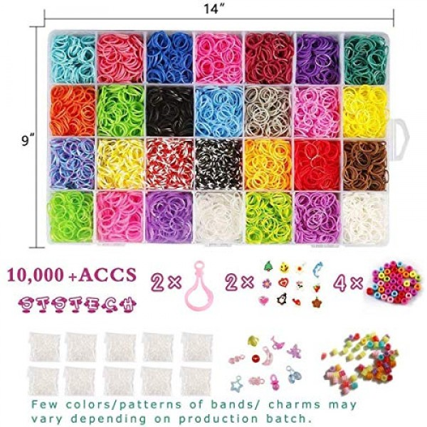 10,000 Rubber Bands Refill Pack Colorful Loom Kit Organizer for Ki...