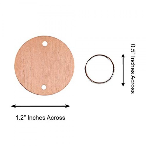 100 Wood Rounds and 100 Key Rings Wooden Circle Discs with Holes a...