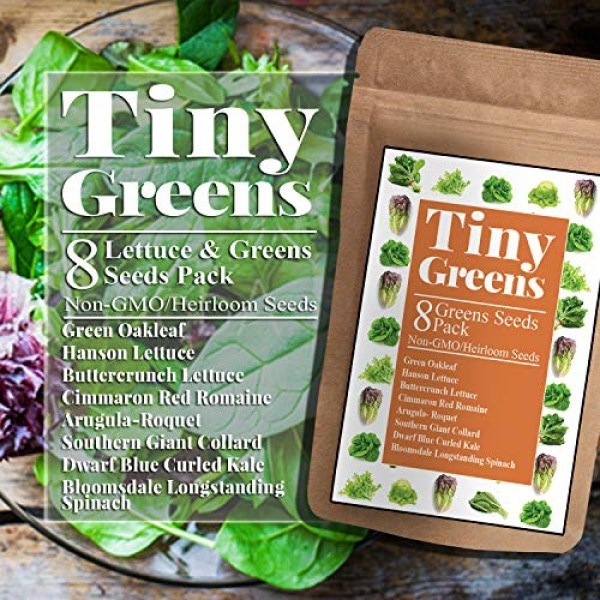 Heirloom Lettuce & Leafy Greens Seeds - Romaine, Kale, Spinach, Bu...