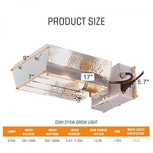 TopoGrow 315W CMH CDM Grow Light Kit W/3100K Bulb& Horizontal Ball...