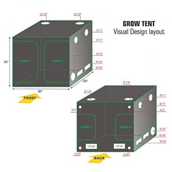 TopoLite 96x96x80 Indoor Grow Tent Room 600D Reflective Mylar H...