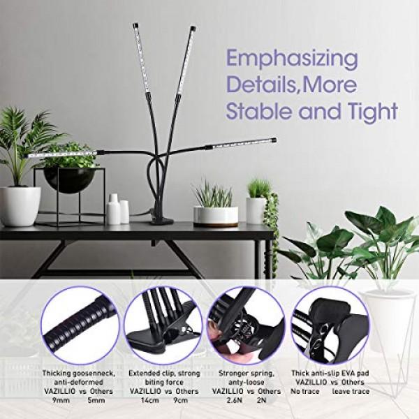 VAZILLIO Led Grow Light, Exclusive 64W 4 Heads Plant Growing Lamp ...