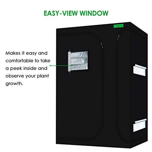VIPARSPECTRA 2-in-1 48x36x72 Mylar Hydroponic Grow Tent with Ob...