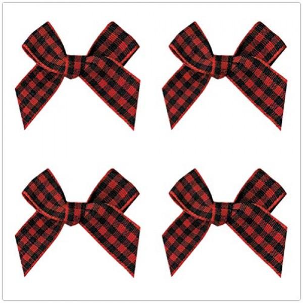 25PCS Gingham Craft Ribbon Bows Mini Checkered Ribbon Flowers Appl...