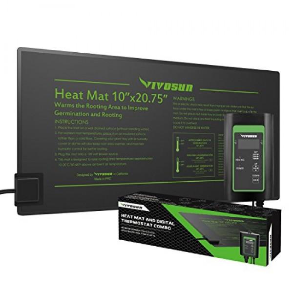 VIVOSUN 10x20.75 Seedling Heat Mat and Digital Thermostat Combo ...