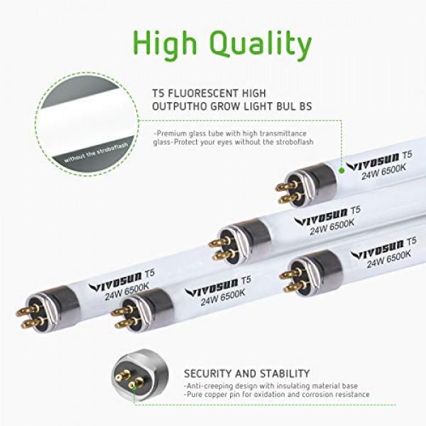 VIVOSUN 2FT 22IN 24W 6500K T5 HO Fluorescent Tubes Cool White Grow...