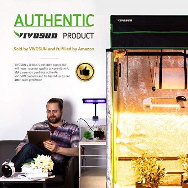 VIVOSUN 48x48x80 Mylar Hydroponic Grow Tent with Observation Wi...