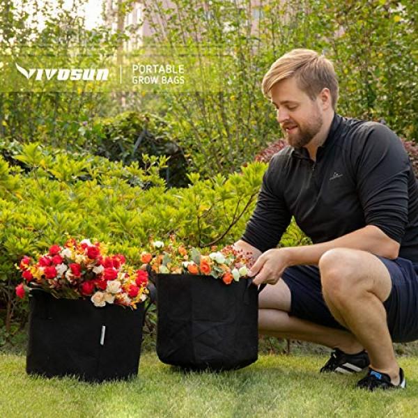VIVOSUN 5-Pack 20 Gallon Plant Grow Bags, Premium Series Thichkene...