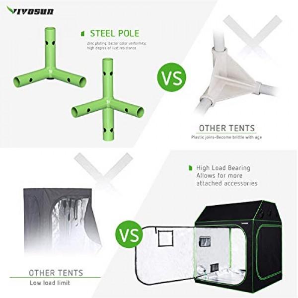 VIVOSUN 60x60x72 Indoor Grow Tent, Roof Cube Tent with Observat...